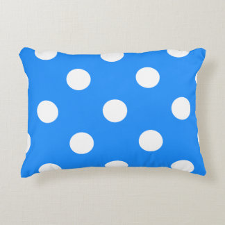 Polka Dots Huge - White on Dodger Blue Accent Pillow
