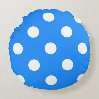 Polka Dots Huge - White on Dodger Blue Round Pillow