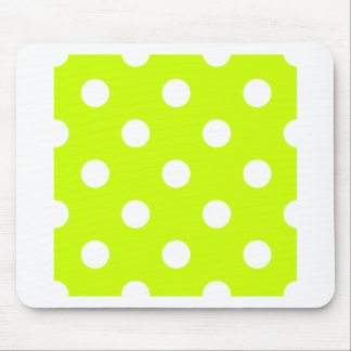 Polka Dots Huge - White on Fluorescent Yellow Mouse Pads