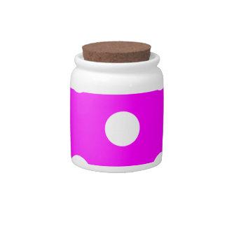 Polka Dots Huge - White on Fuchsia Candy Dish