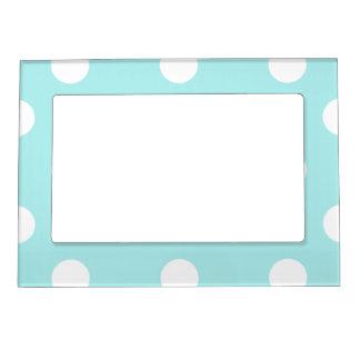Polka Dots Huge - White on Pale Blue Magnetic Photo Frame