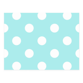 Polka Dots Huge - White on Pale Blue Postcard