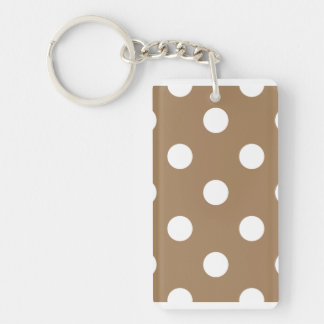 Polka Dots Huge - White on Pale Brown Double-Sided Rectangular Acrylic Keychain