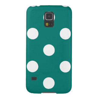 Polka Dots Huge - White on Pine Green Galaxy S5 Covers