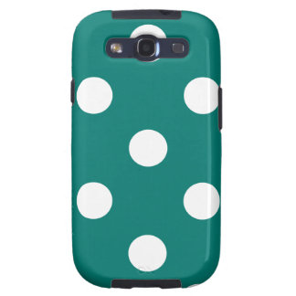 Polka Dots Huge - White on Pine Green Galaxy S3 Covers