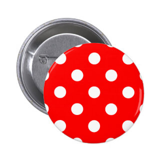 Polka Dots Huge - White on Red Pin
