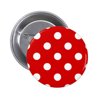 Polka Dots Huge - White on Rosso Corsa 2 Inch Round Button