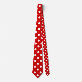 Polka Dots Huge - White on Rosso Corsa Neck Tie