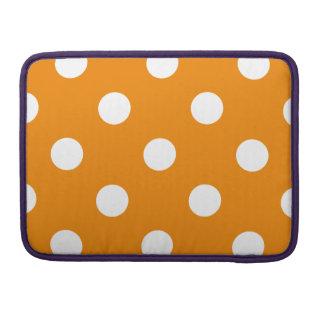 Polka Dots Huge - White on Tangerine Sleeve For MacBooks