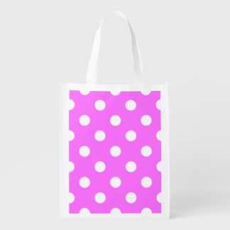 Polka Dots Huge - White on Ultra Pink Grocery Bags