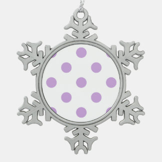 Polka Dots Huge - Wisteria on White Snowflake Pewter Christmas Ornament
