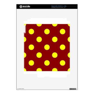 Polka Dots Huge - Yellow on Dark Red Skin For iPad 2