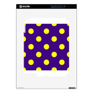 Polka Dots Huge - Yellow on Dark Violet iPad 2 Skins