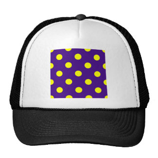 Polka Dots Huge - Yellow on Dark Violet Trucker Hat