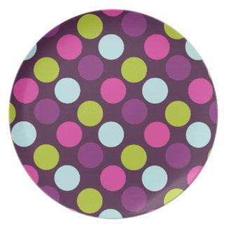 Polka Dots in Berry Dark Plate