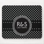 Polka Dots in Black and White with Mod Circle Mouse Pad