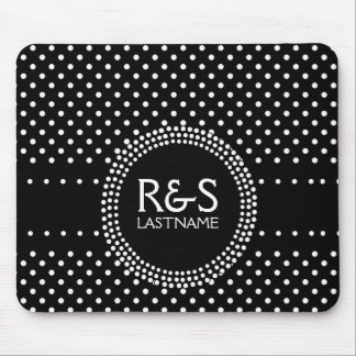 Polka Dots in Black and White with Mod Circle Mousepads