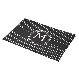 Polka Dots in Black and White with Mod Circle Cloth Placemat