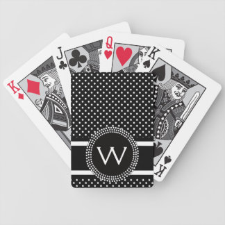 Polka Dots in Black and White with Mod Circle Bicycle Poker Cards