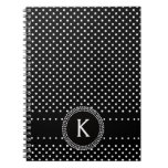 Polka Dots in Black and White with Mod Circle Spiral Note Book