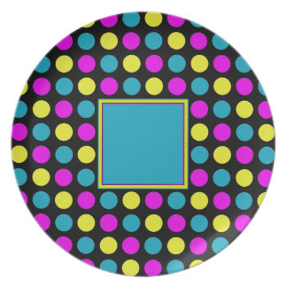Polka Dots in PBY to Customize Melamine Plate