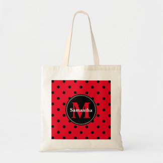 Polka Dots in Red and Black Tote Bag