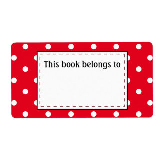Polka Dots in Red and White Label