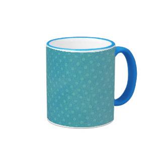 Polka dots in teal ringer coffee mug