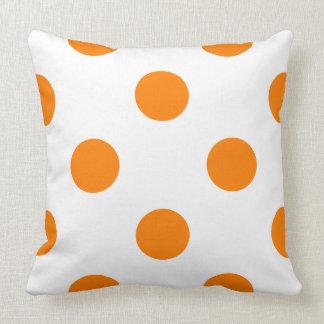 Polka Dots in White on Orange Throw Pillow