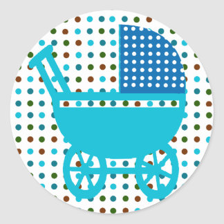 Polka Dots Infant Shower Dotted Baby Carriage Classic Round Sticker