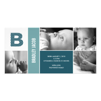 Polka Dots Initial Baby Birth Announcement