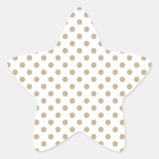 Polka Dots - Khaki on White Star Stickers