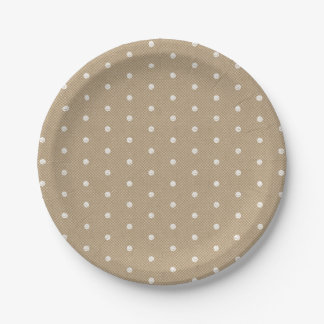 Polka Dots Lace Kraft Custom Party 7 Inch Paper Plate