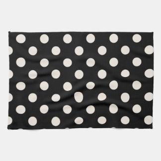 Polka Dots Large - Almond on Black Towels
