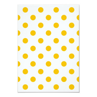 Polka Dots Large - Amber on White 3.5x5 Paper Invitation Card