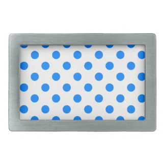 Polka Dots Large - Azure on White Rectangular Belt Buckle