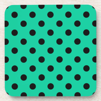 Polka Dots Large - Black on Caribbean Green Drink Coaster