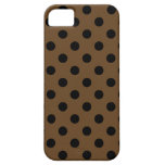 Polka Dots Large - Black on Dark Brown iPhone 5 Cover