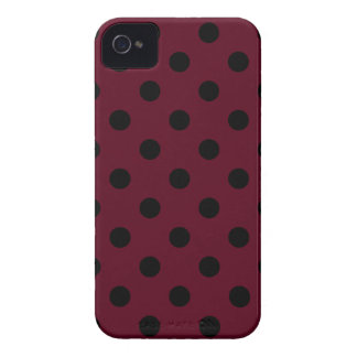 Polka Dots Large - Black on Dark Scarlet iPhone 4 Case-Mate Cases