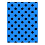 Polka Dots Large - Black on Dodger Blue Post Cards