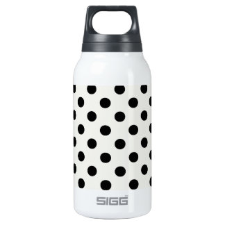 Polka Dots Large - Black on Eggshell Insulated Water Bottle