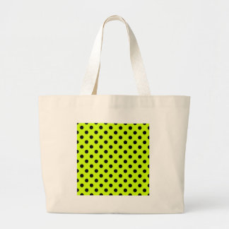 Polka Dots Large - Black on Fluorescent Yellow Large Tote Bag