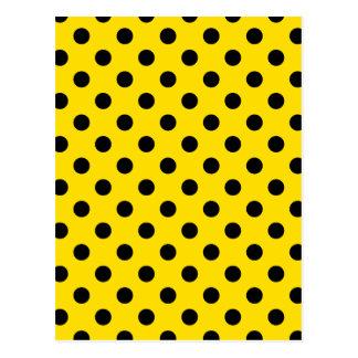 Polka Dots Large - Black on Golden Yellow Postcard