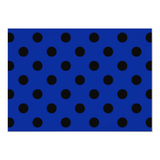 Polka Dots Large - Black on Imperial Blue 5x7 Paper Invitation Card