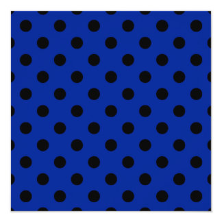 Polka Dots Large - Black on Imperial Blue 5.25x5.25 Square Paper Invitation Card