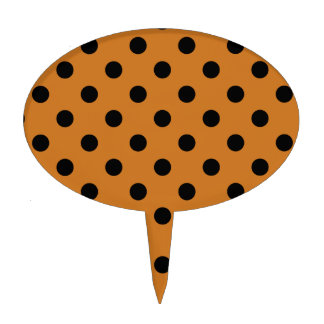 Polka Dots Large - Black on Ochre Cake Toppers