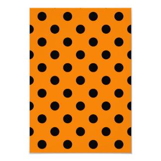 Polka Dots Large - Black on Orange 3.5x5 Paper Invitation Card