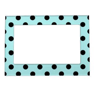 Polka Dots Large - Black on Pale Blue Magnetic Photo Frames