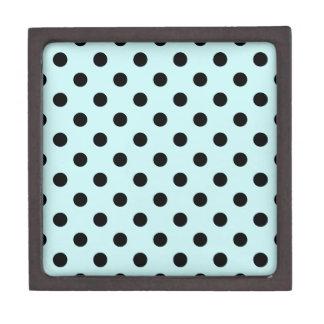 Polka Dots Large - Black on Pale Blue Premium Jewelry Box