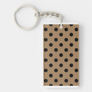 Polka Dots Large - Black on Pale Brown Double-Sided Rectangular Acrylic Keychain
